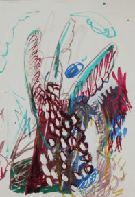 Geist mit Flügeln und Wolken, Wachskreiden, Farbstift auf Papier, 2009 André d´Orcay