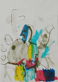 Vogel / Blume - Ast - Kopf,  Bleistift, Tusche, Farbstift auf Papier, 2005 André d´Orcay