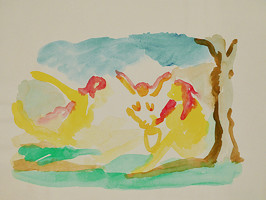Nymphen / Drachentanz mit Tiegertatzen, Aquarell auf Papier, 2005 Pepita Basilius
