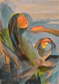 Wesen auf einem Ast,  Bleistift, Aquarell auf Papier, 2008 Pepita Basilius